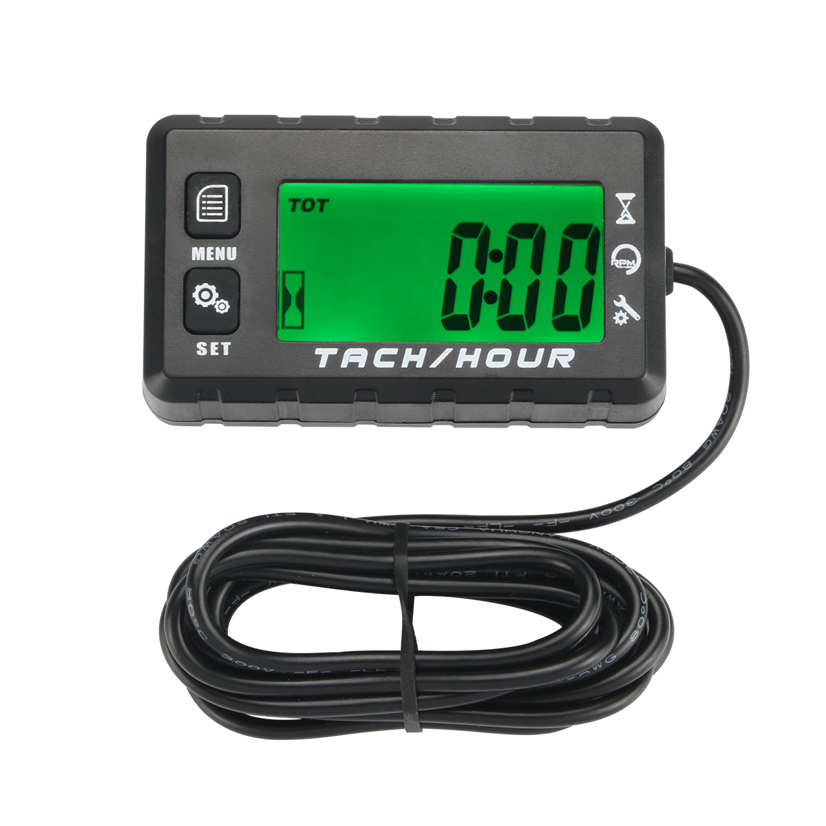 Digital Engine Hour Meter//Tach Tachometer Gauge for Small Engines Motorcycle ATV Lawn Mower Motocross UTV Boat Generator Non-replaceable Battery Tach//Hours